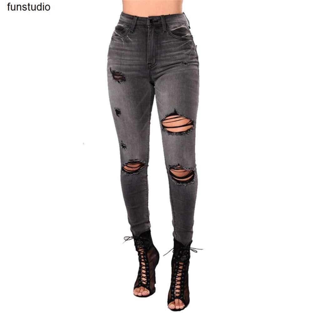 Черная мытье огорченные джинсы джинсы женские повседневные высокие талии рваные брюки скинни джинсы карандаша брюки для женщин серый WS110 J190425