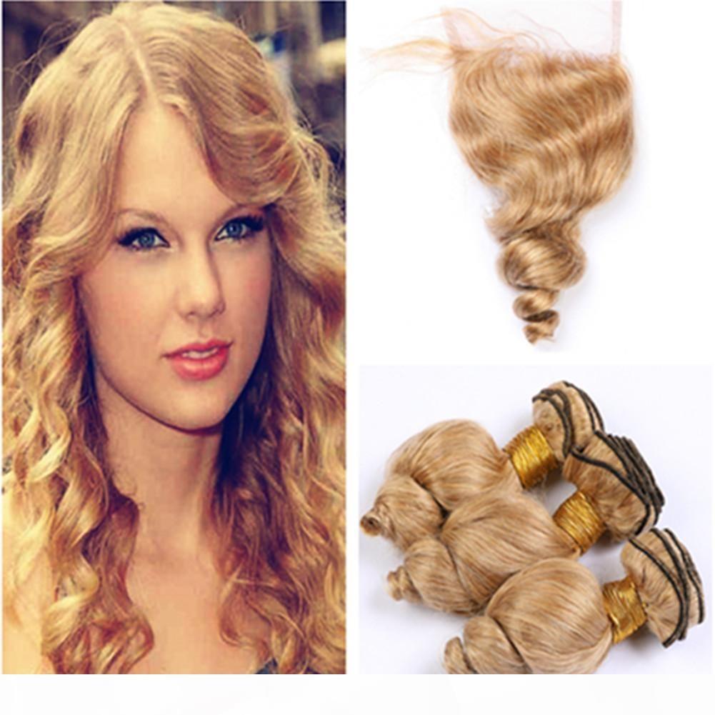 LOOSE WAVE Miel Malaisien Blonde Human Cheveux Human Wefts avec fermeture # 27 Brun brun clair cheveux humains tissés 3 faisceaux avec fermeture en dentelle 4x4