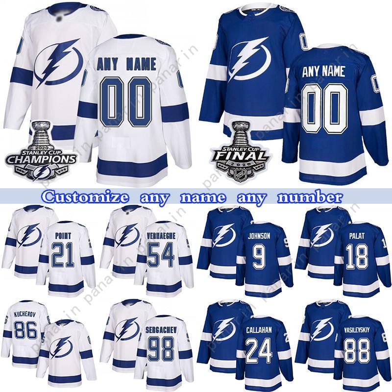 Custom Tampa Bay Lightning Hóquei Jerseys 21 Brayden Point 86 Nikita Kucherov 77 Victor Hedman 21 Brayden Ponto qualquer número e nome
