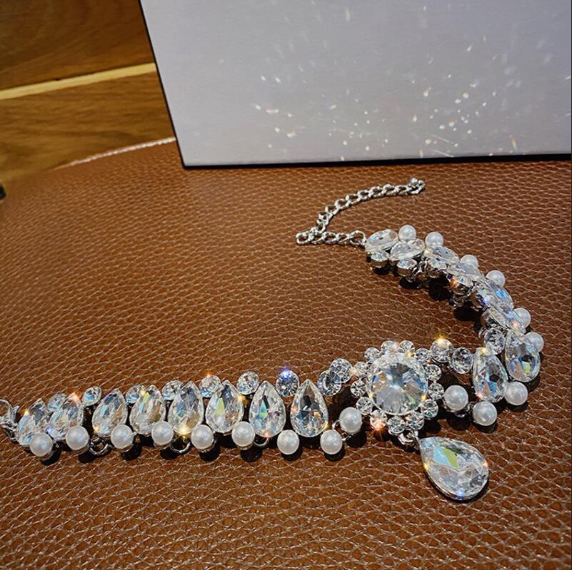 Роскошное новое Crystal ожерелье ожерелье блестящее горный хрусталь широкое ожерелье высокого качества женские аксессуары подарки для любовников