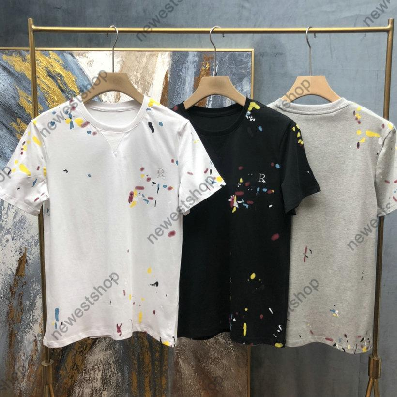 Verano Europa Diseñador Pintura Imprimir Tshirts Muestra de la letra para hombre Impresión Mangas cortas T Shirts Camiseta Camiseta Camiseta Casual de algodón