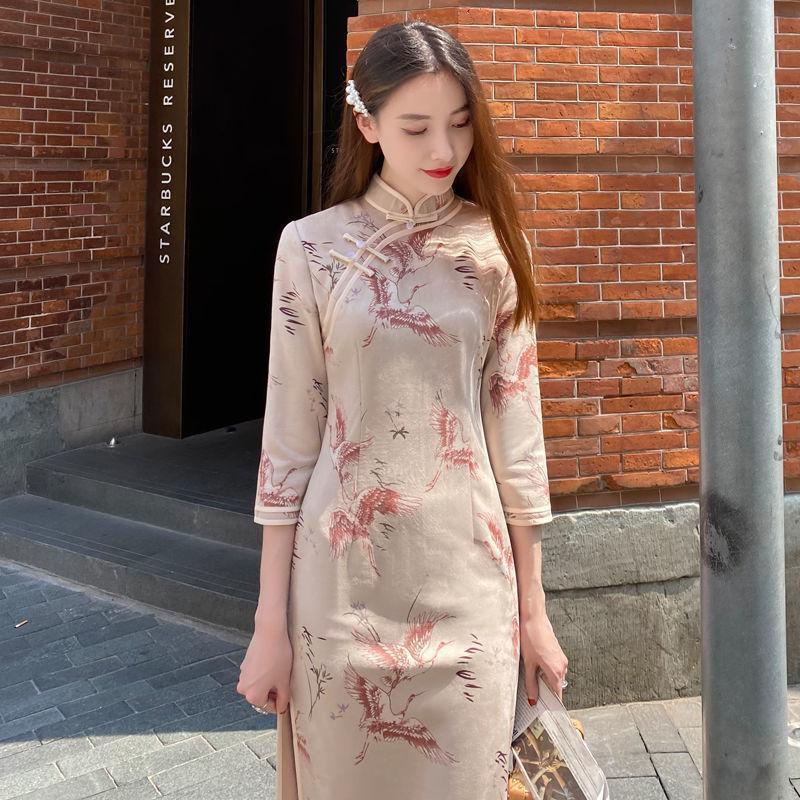 Estilo chino vintage otoño mujeres cheongsam vestido delgado elegante temperamento primavera señoras chic stand collar vestidos tradicionales tela étnica