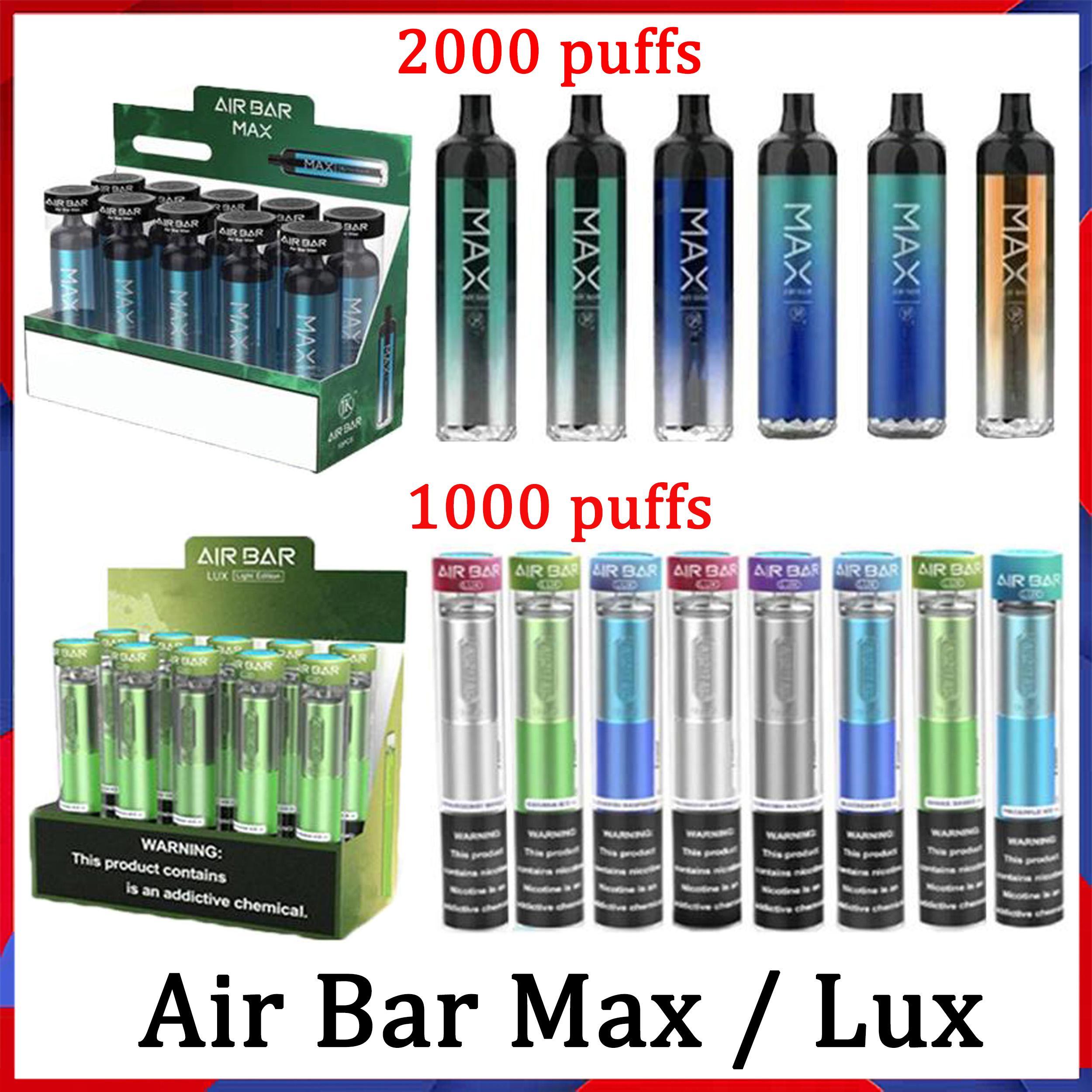 Air Bar Max Lux Dispositivo Descartável Pods E Cigarro Airbar 1250Mah Cartuchos Prefalcados 6.5ml Starter Kits 12 Cores Vaporizador Oil Cartins