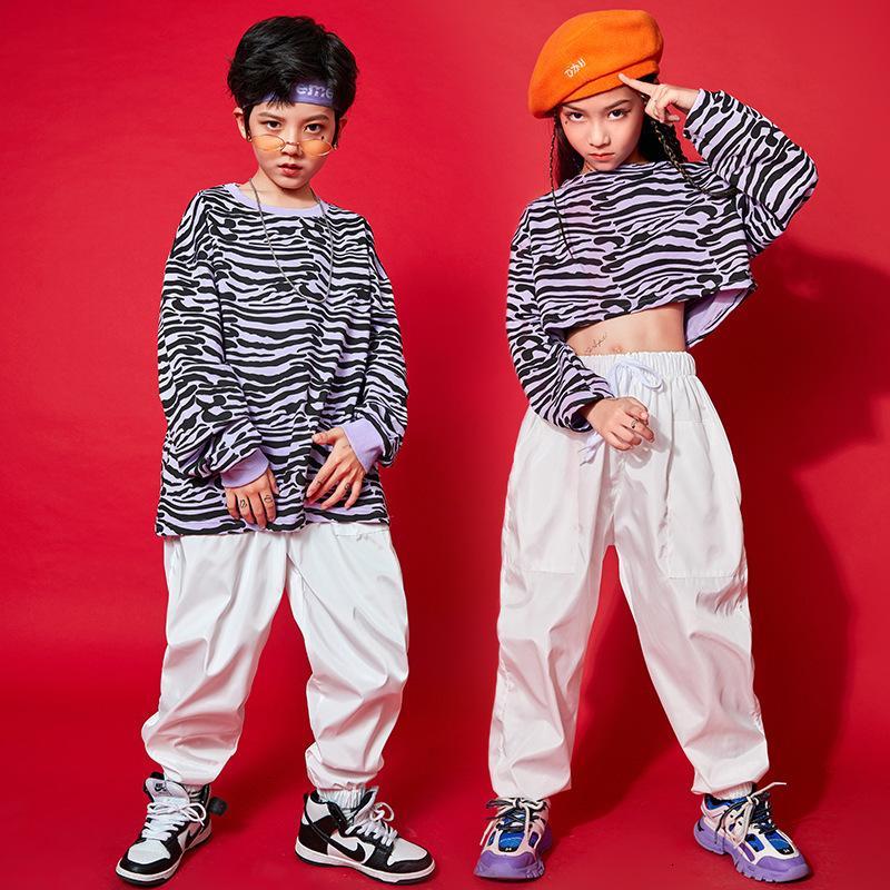 Traje para niños Big Boys Streetwear Ropa Set Otoño Primavera Adolescentes Color Púrpura Color Leopardo Tshirt y Suelos Blancos Pantalones Sets de deporte