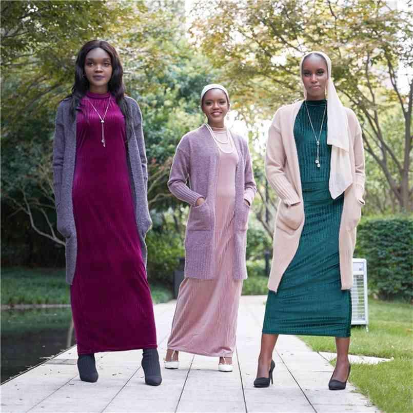 Open Dubai Abaya Türkei Hijab Muslim Kimono Strickjacke Mantel Mujer Islam Kleidung Afrikanische Kleider Abayas Für Frauen Gestrickte Pullover 210602