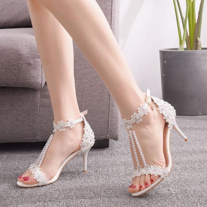 Сандалии насосы женские сексуальные белые кружева жемчужина дизайн хрустальные каблуки женские туфли шпильто высокие каблуки свадебное платье женщина