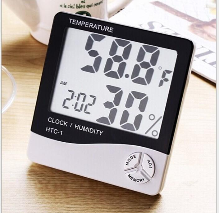 Digital LCD thermometer Temperature Hygrometer Clock Humidity Meter with Calendar Alarm HTC-1 100 pieces up