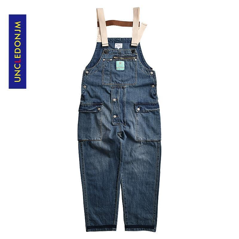 Jeans masculinos patchwork denim macacão mens jumpsuit jean macacão uma peça ternos romper solto fis fz-7033