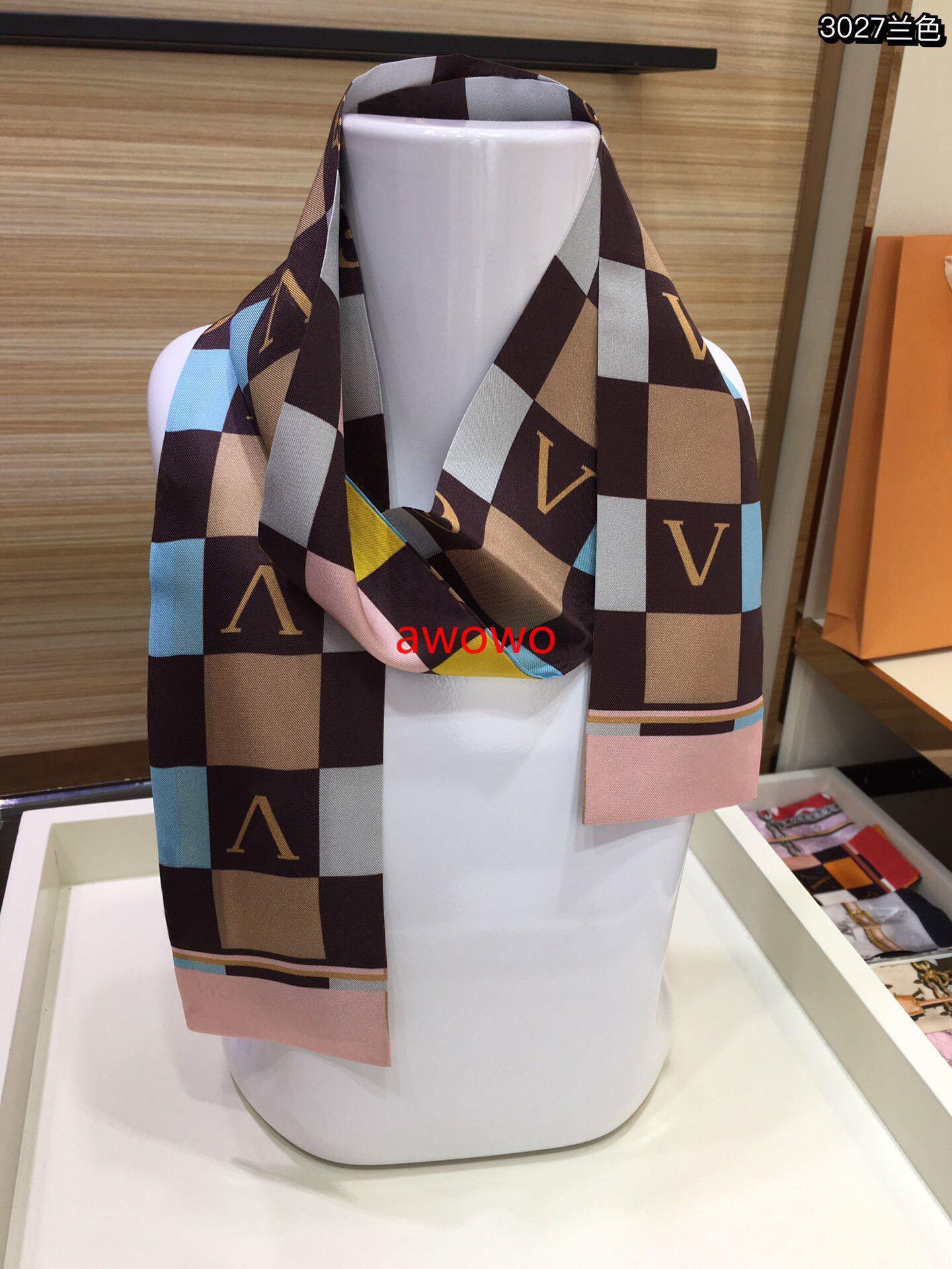 French Check Design Design 100% Seta Ribbon Sciarpa Top Quality Bag Accessori Summer Sumidite Noble Donne Ragazza Sciarpe della fascia