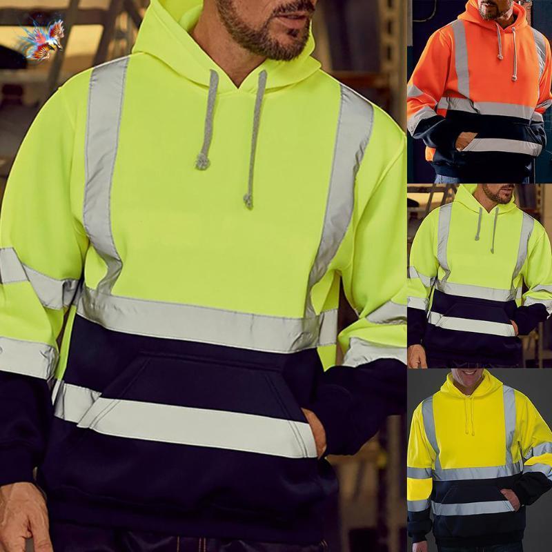 Men's Hoodies & Sweatshirts Men Sweatshirt High Visibility Pullover Top Long Sleeve Hooded Jacket Fake Reflective Decoration Belt Dress Up W