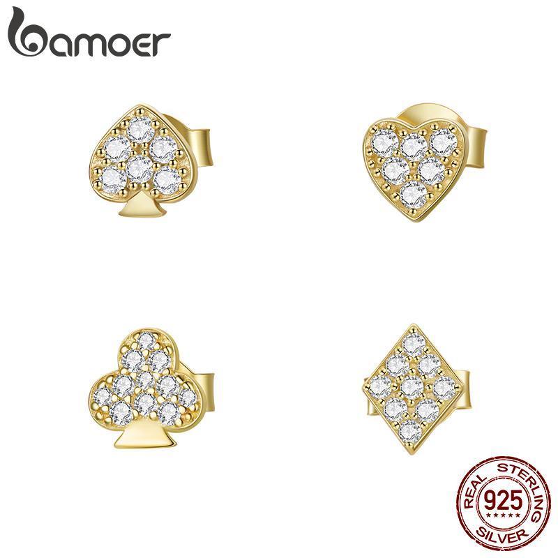 Bamoer 1 stück Poker Ohrstecker für Frauen 925 Sterling Silber Gold Farbe Klar CZ 4 Form Pierced Bols Schmuck SCE1053