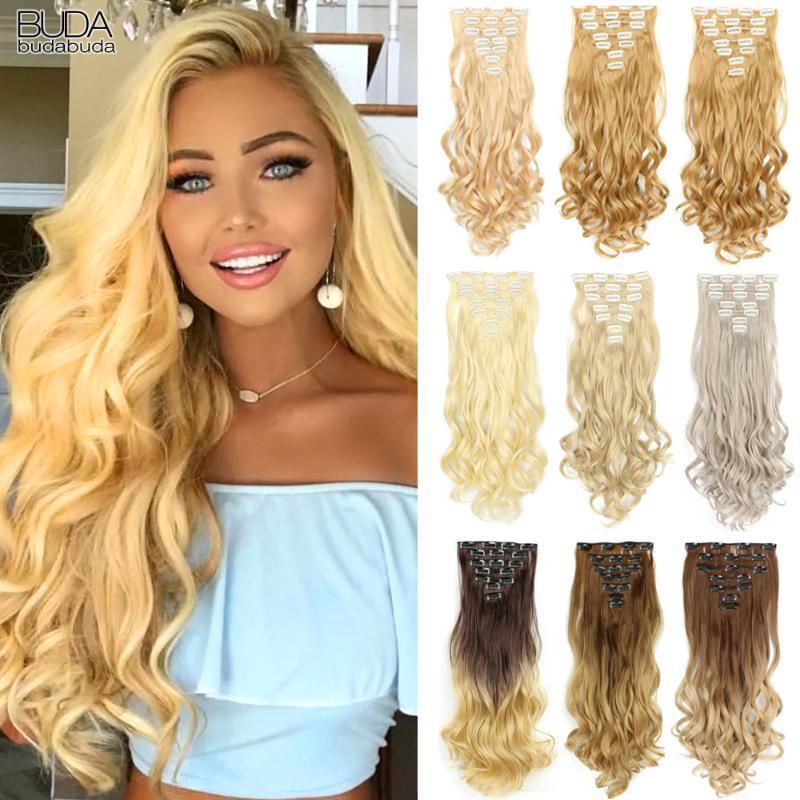Sentetik Peruk 22 inç Kıvırcık 16 Klipler Saç Ombre Mavi Gri Sahte Hairpieces Beyaz Kadınlar Için Isıya Dayanıklı Fiber Vurgula