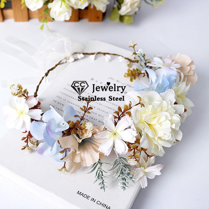 Saç Klipler Barrettes 100% El Yapımı Çiçek Hairband Kadın Aksesuarları Düğün Nişan Süsler Için Gelin Taç Trendy Çiçek Çelenk