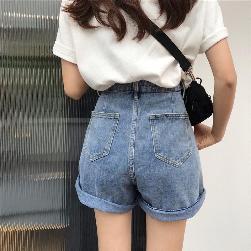 Summer Casual Blue Blue genou Longueur Jeans Femmes Plus Taille 5XL Taille haute Denim Denim Capris Pantalons Lâches Lâches