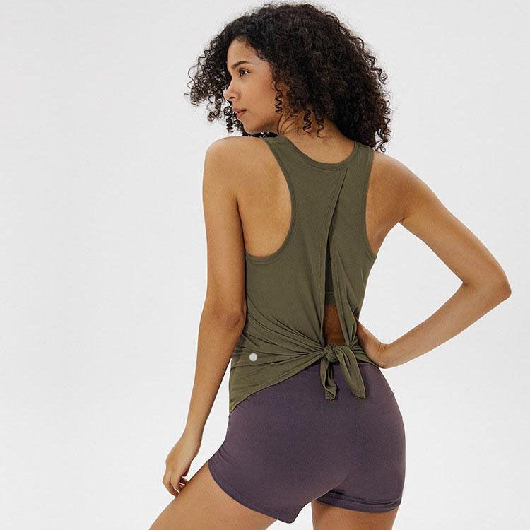 Kadın Tankları Yoga Üst Katı Renkler Kadın Moda Açık Yoga Bağlı Spor Koşu Spor Giysileri Için Açık Tanklar Açık Tanklar L-092
