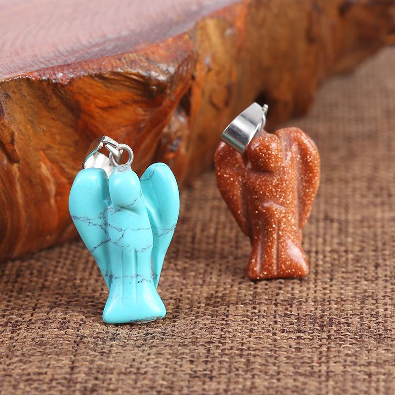 New Hot Selling Fashion Scolpito Misto Misto Pietra Naturale Angelo Angelo Ciondoli Charms per collana che fa gioielli 12pcs Lots1 656 R2