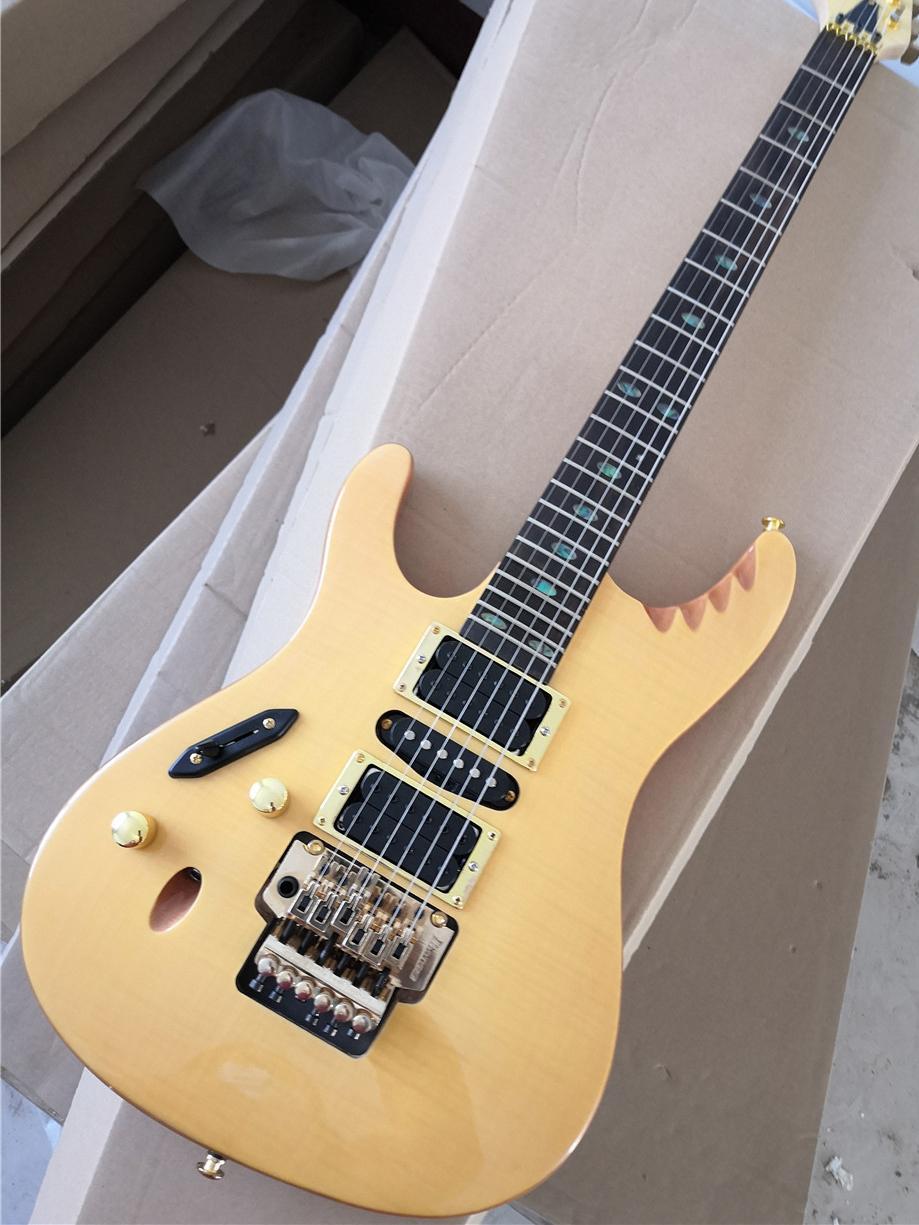 مصنع مخصص اليد اليسرى من الخشب الطبيعي اللون الغيتار الكهربائي مع hardwares الذهب، القشرة القيقب لهب، لا pickguard، التقاطات HSH