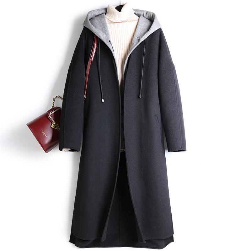 Women's Laine Blends Femmes Veste d'hiver avec 2021 à capuche Long Parkas Land-taille large à glissière d'automne Vêtements Casacas Para Mujer Invierno