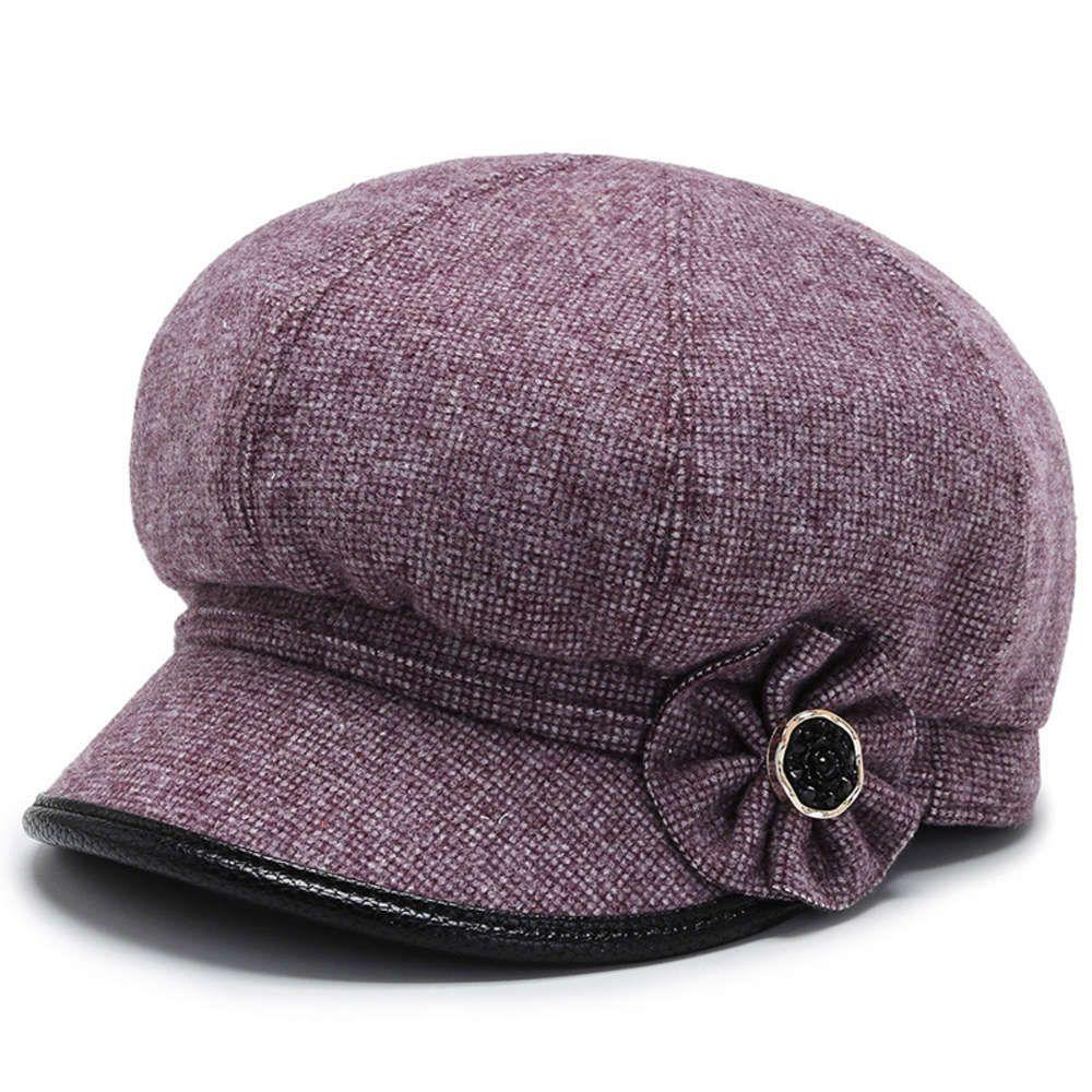 Berets Feminino Britânica Tweed Top Chapéu Octogonal Boina Outono e Inverno Coreano Moda Fashion Versátil