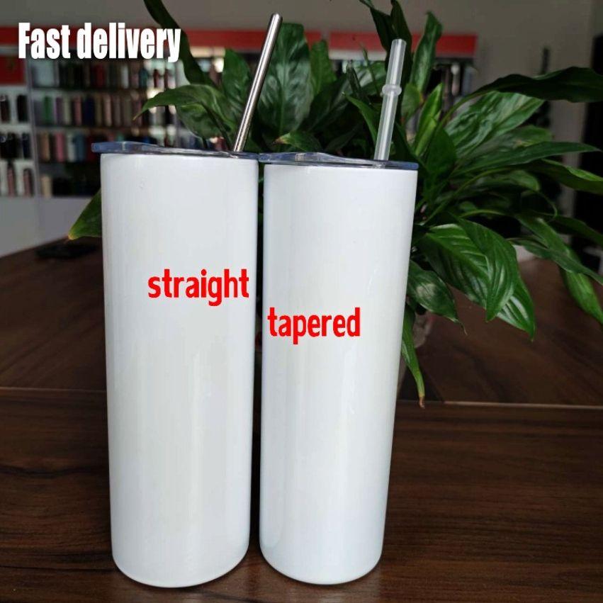 Fabrik direkt försäljning 20oz sublimering tumblers blanks rostfritt stål avsmalnande raka tumblers koppar vattenflaskor kaffe mugg diy 2021