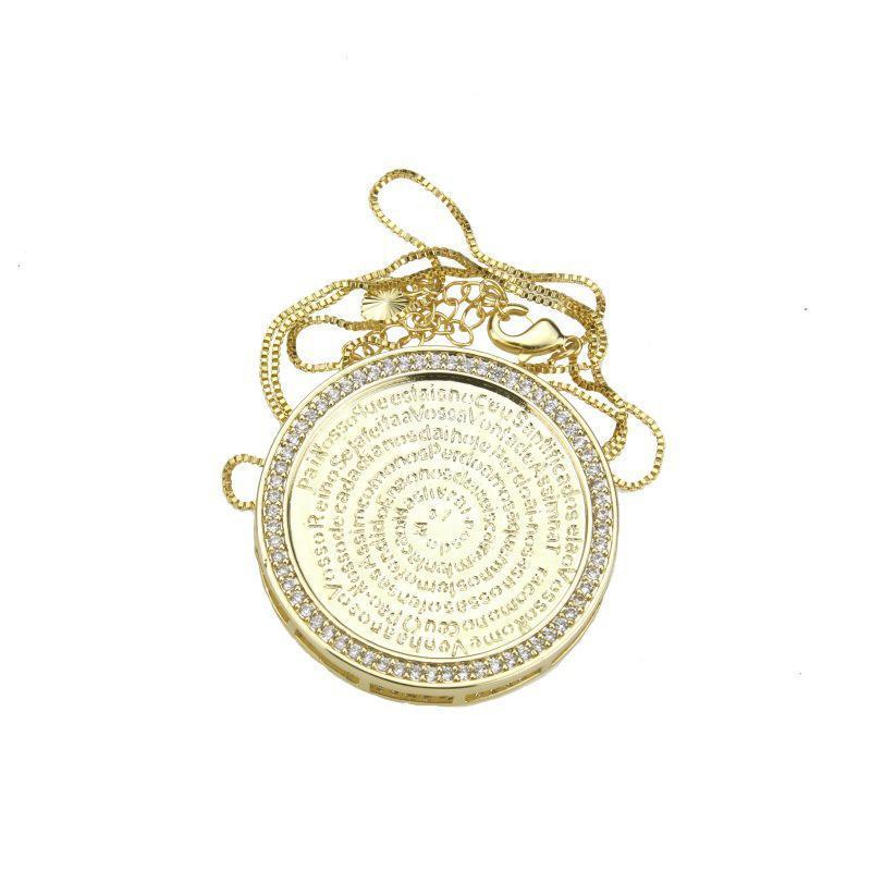Collier pendentif en pierre en pierre de zircon en cuivre pour femmes Couleur d'or Chaîne initiale Chaîne catholique Chiffres-cadeaux