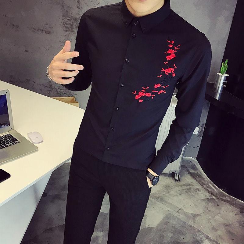 봄 남자 블랙 셔츠 S-5XL Mens 슬림 캐주얼 자수 Camisa Hombre 사회 Masculina 드레스 남성 셔츠