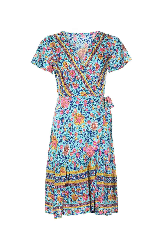 Женское платье дизайнерская одежда 2021 женская новая богемная мода мода V-образным вырезом с коротким рукавом печати зашнуровать район