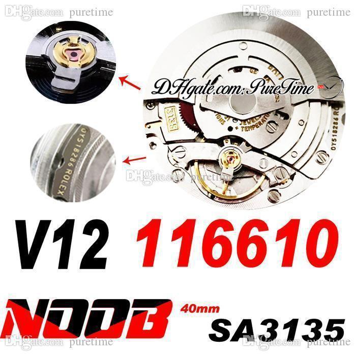 N V12 SA3135 Automatic Mens Watch Black Green Ceramic Bezel And Dial 904L Steel Bracelet Ultimate Version Super Edition Correct Shock Absorber 116610 Puretime A1