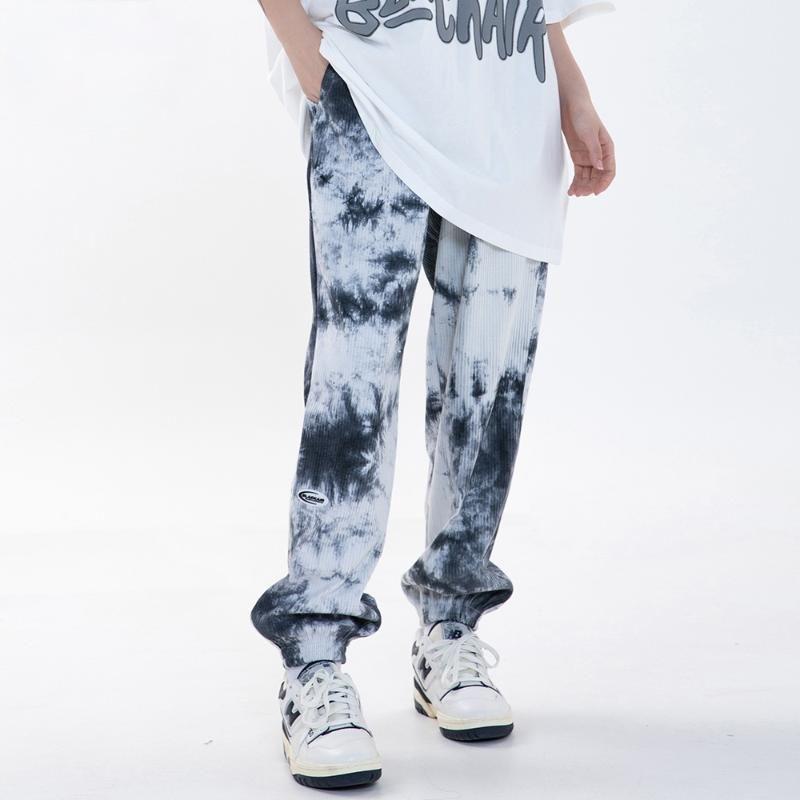 Men's Pants High Street Tie Dye Print Sweatpants Men Elastic Waist Casual Jogger Trouser Hip Hop Rock Hipster Streetwear
