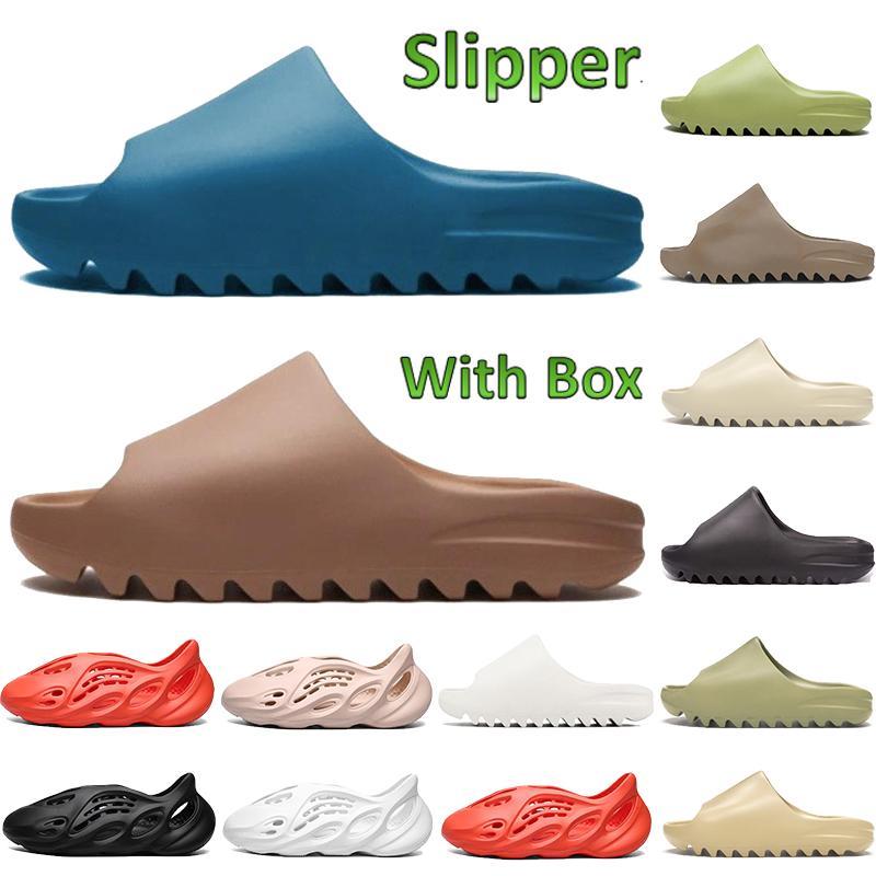 2020 hommes femmes kanye slide os core désert sable résine suie terre marron hommes mousse runner sandales triple blanc noir rouge pas cher pantoufles
