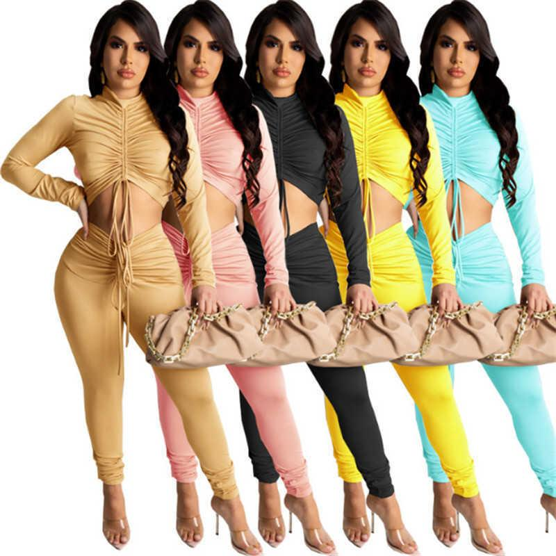 womens sportswear sexy crop top two piece set tracksuits outfits long sleeve trousers sweatsuit pullover tights legging suit