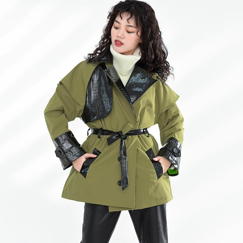 [EWQ] Safari Tarzı Kruvaze Bayan Ceket 2021 Bahar Sonbahar Uzun Kollu Artı Boyutu Yeşil Palto Rahat Ceket 8Q62306 kadın Ceketler