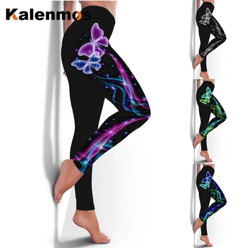 Women's Leggings Kalenmos Woman Pants Black Butterfly Christmas Fashion Hip Elastic Sports Plus Size Clothing For Women