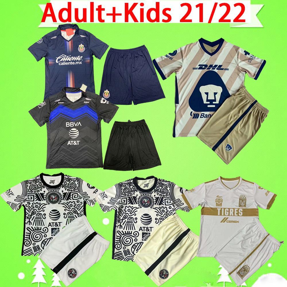 2021 Комплект для взрослых и детей Chivas soccer jersey Mexico LIGA MX 21 22 guadalajara C.F. Футболка Monterrey 2022 для мальчиков, детский комплект РАЗМЕР 16-2XL