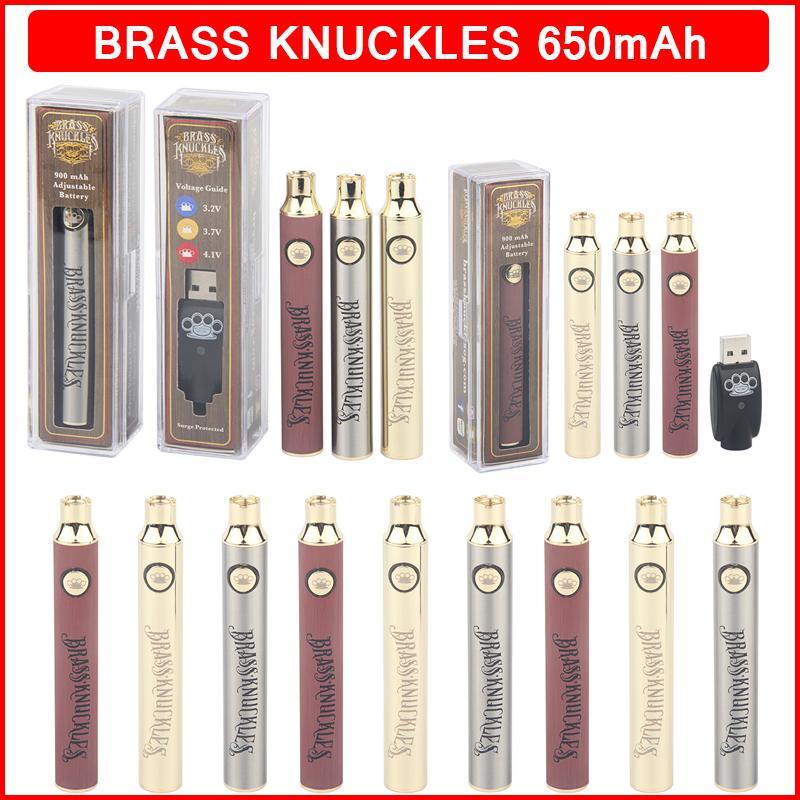 황동 너클 배터리 650mAh 골드 나무 슬리핑 조절 가능한 VV 전압 vape 펜 배터리 BK 510 스레드 카트리지