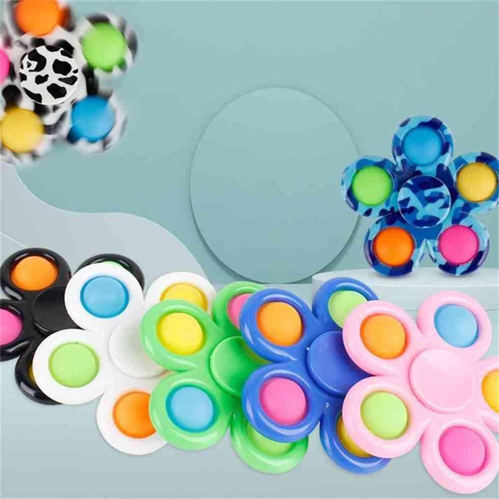 Fingertip Fidget Spinner Toys Bubble Poppers Flower Board DNA Rainbow Color Push Spinners Finger Fun Kids Adult Stress Relief Toy Desktop Bubbles G4U12ME