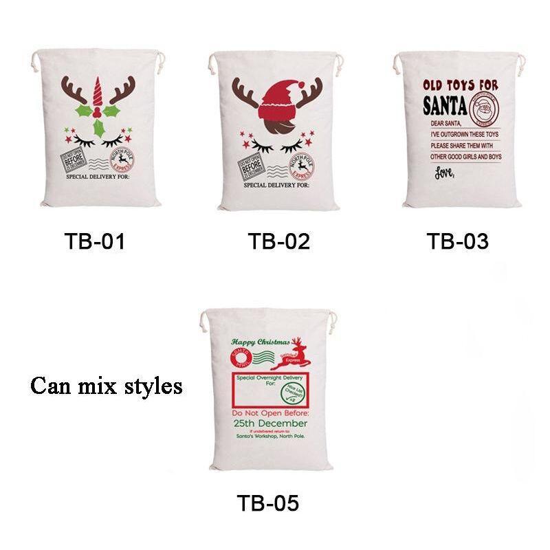 Sacs de Noël 5 designs Cordon de cordon Santa Claus Sac Sacs-cadeaux pour Chirldren Décoration
