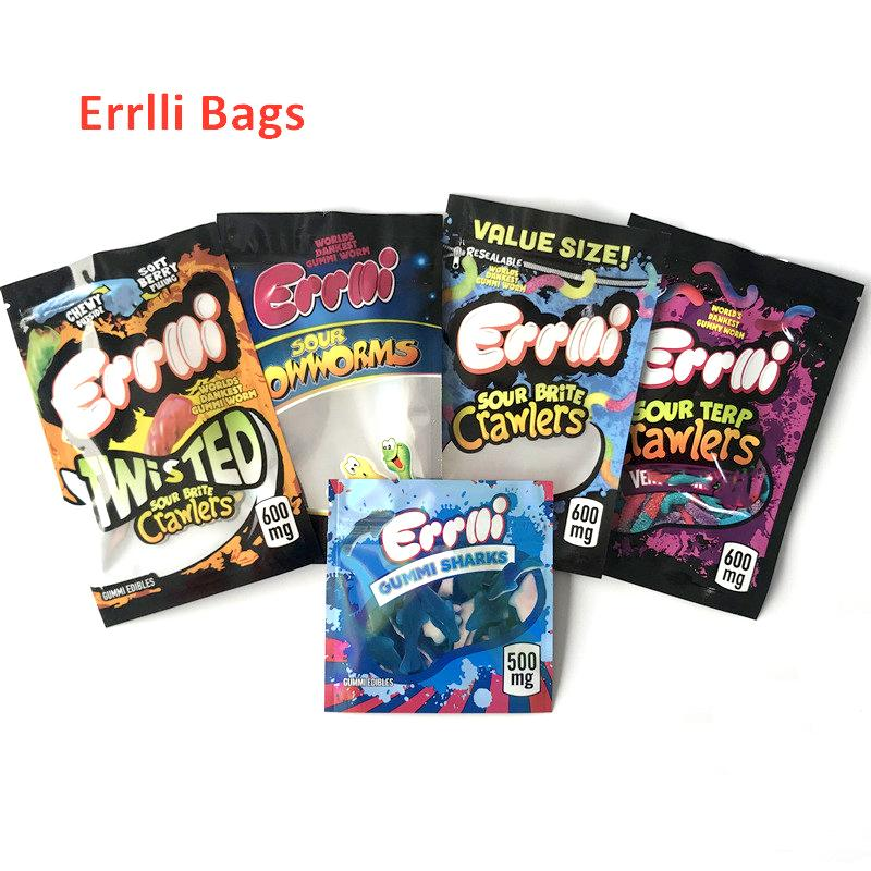 Vuoto 600 mg di Gummies commestibili commestibili Borse Medible Packs Infused Candy Sourge Bites Crawlers Growldms Gummy Mylar Bag