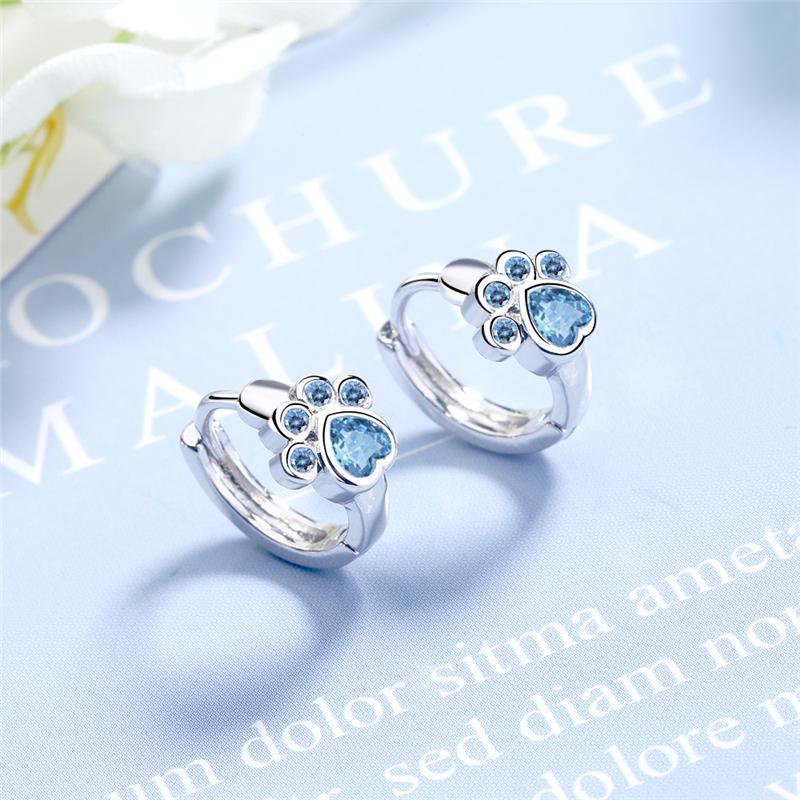 Sterling Silver Stud Orecchino Blu Zircon Cat Claw Design Orecchini per le donne Girl Ear Gioielli 2021 Moda