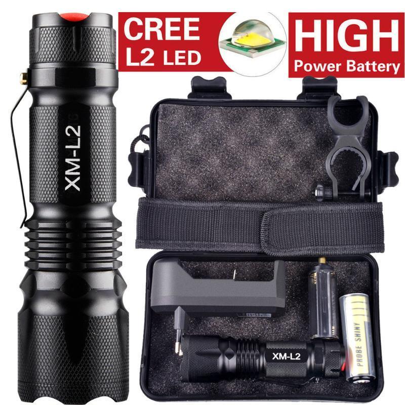 Сильный свет XML L2 LED 10000LM алюминиевый сплав Материал 18650 батареи подарок набор оптом покупки # 3А15 фонарики факелов