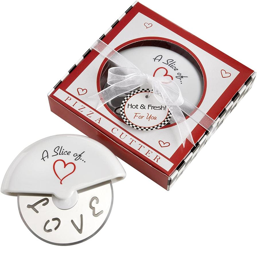 A Slice of Love Stainless Steel Pizza Cutter in Miniature Pizza Box Baby Shower Gifts & Wedding Favors JK2003