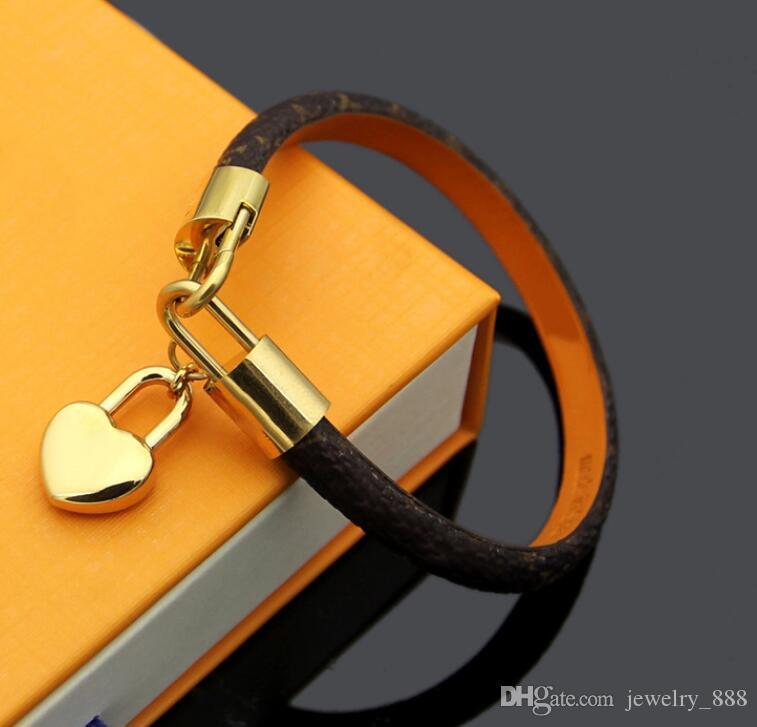 2021 Mode Leder Armbänder für Männer Frau Designer Armband Leder Blume Muster Armband Perlenschmuck mit Box