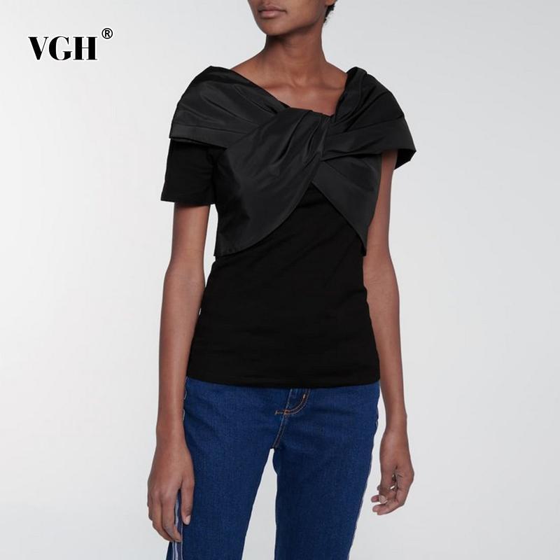 VGH Siyah Rahat T Gömlek Kadınlar Için O Boyun Gömlek Kollu Düzensiz Tasarım Katı Düz T Shirt Kadın Yaz Moda Stil 210421