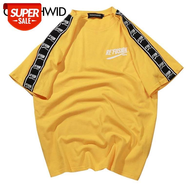 Manga de fita impressa manga curta t-shirt hip hop casual camisetas verão moda algodão t-shirts streetwear tshirts # bx8h