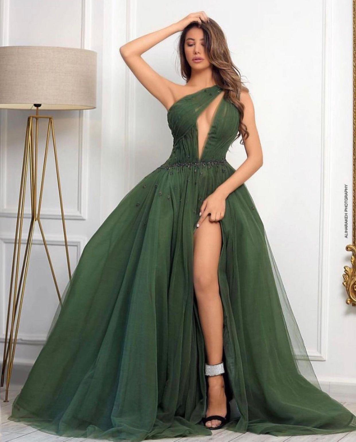 Vestidos de baile verde escuro 2021 com um ombro keyhole decote alto split vestido de noite concurso de festa de festa especial ocasião aniversário Dubai