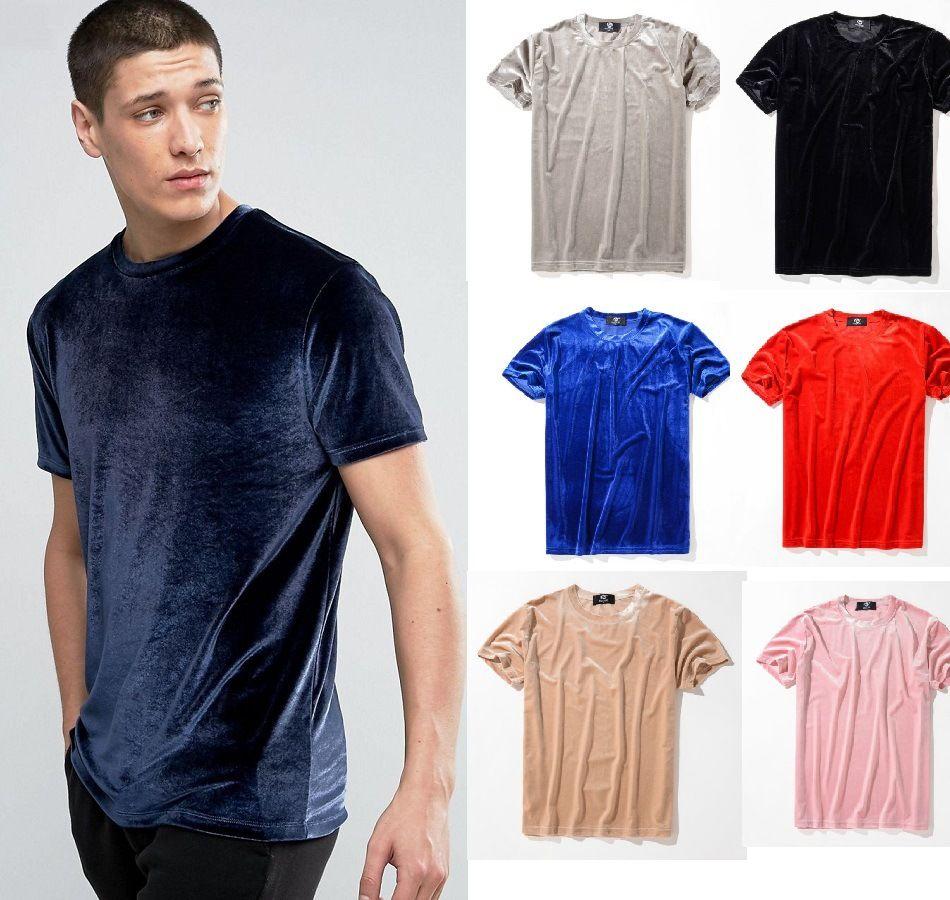 벨벳 남자 티셔츠 단색 블랙 블루 티셔츠 짧은 소매 남자 한국어 캐주얼 압축 넥 벨벳 티 탑