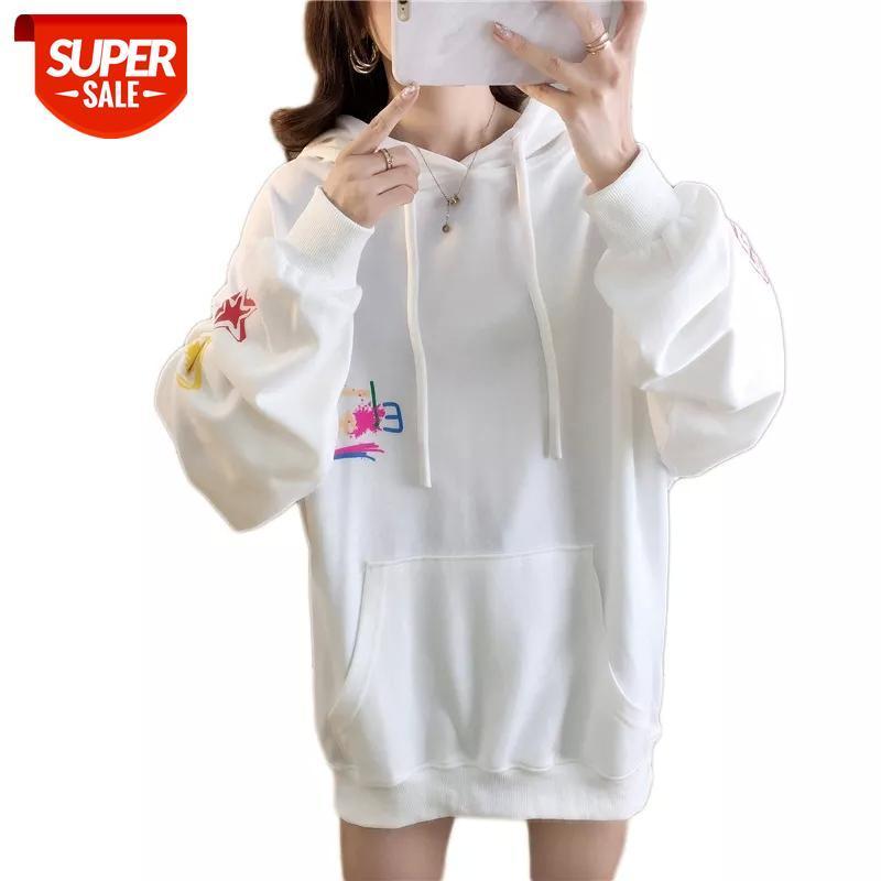 Suéter otoño estilo coreano graffiti impresión con capucha mujeres o-cuello informal sudadera con capucha bTS letra de gran tamaño para sudaderas fiesta # sj76