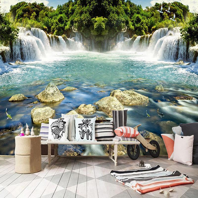 Wallpapers personalizado montanha montanha cachoeira paisagem po para sala de estar quarto fundo parede decoração home decor papel de parede 3d