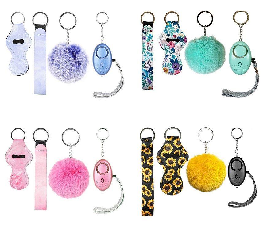 7 Renk Moda Savunma Anahtarlıklar Set Ponpom Alarm Anahtarlık Ruj Tutucu ve Kadın Erkek Erkekler için Bileklik Kendini Savunma Anahtarlık