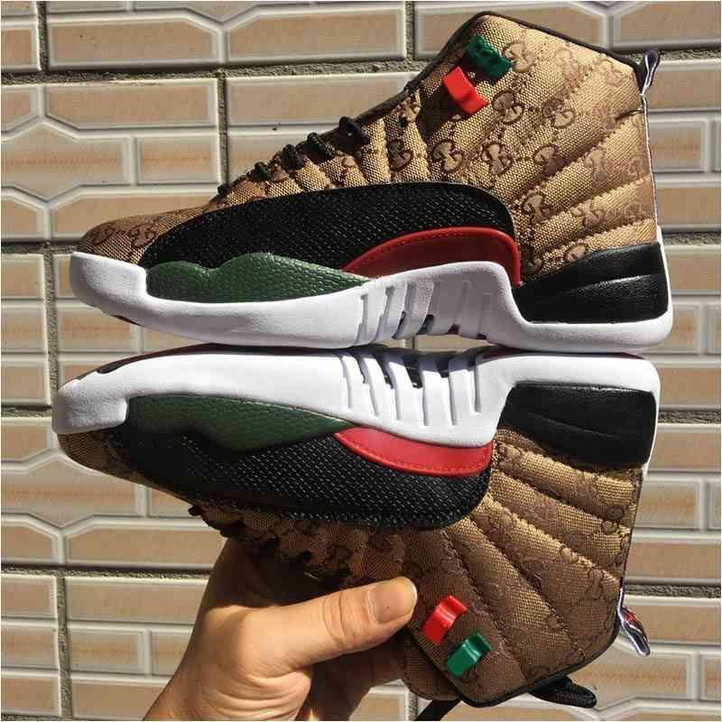 Jumpman 12 GS جيل من ثعبان أسود براون الرجال الاطفال نمط 12s جلد الثعبان متعدد الألوان الرياضة sneakwn أحذية رجالي أحمر